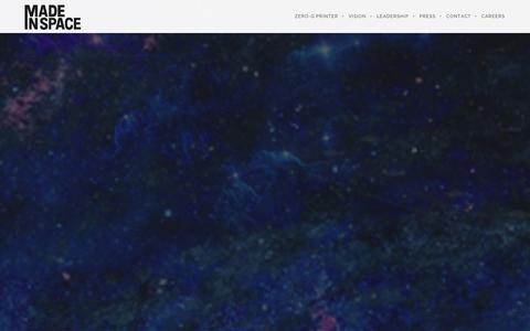 Screenshot of Home Page madeinspace.us - Made In Space | Additive Manufacturing in Space - captured Sept. 19, 2014