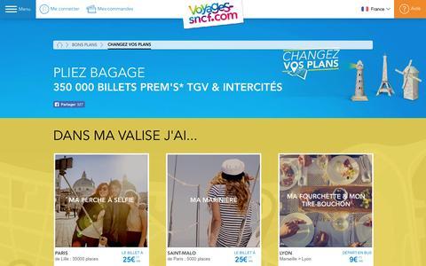 Screenshot of voyages-sncf.com - Changez vos plans ! Pliez bagage et partez avec Voyages-sncf.com. - captured Oct. 19, 2016
