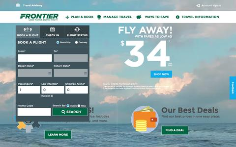 Screenshot of Home Page flyfrontier.com - Frontier Airlines | Frontier Airlines | Cheap Fares - captured Aug. 19, 2016