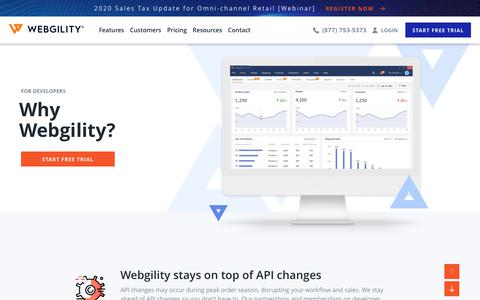 Screenshot of Developers Page webgility.com - Ecommerce Automation Solutions for Web Developers - Webgility - captured Feb. 18, 2020