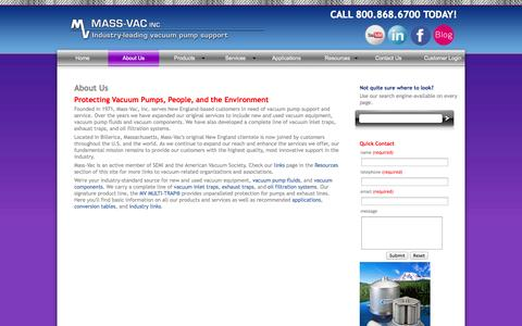 Screenshot of About Page massvac.com - About Mass-Vac, Inc. and the Mass-Vac, Inc. family of vacuum traps, vacuum pump products and services. - captured Oct. 27, 2014