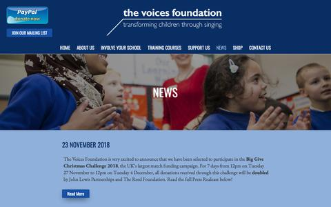 Screenshot of Press Page voices.org.uk - The Voices Foundation - captured Dec. 21, 2018