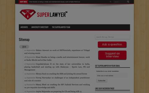 Screenshot of Site Map Page superlawyer.in - Sitemap | SuperLawyer - captured Sept. 23, 2014
