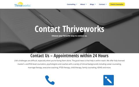 Screenshot of Contact Page thriveworks.com - Contact Us - Schedule, Reschedule, Cancel Appointment - captured Sept. 19, 2018