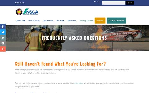 Screenshot of FAQ Page fireandsafetyaustralia.com.au - Frequently Asked Questions - Fire and Safety Australia - captured Oct. 10, 2018