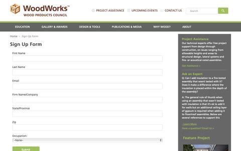 Screenshot of Signup Page woodworks.org - Sign Up Form - WoodWorks - captured Dec. 22, 2018