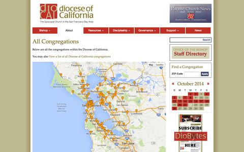 Screenshot of About Page Maps & Directions Page diocal.org - All Congregations | The Diocese of California - captured Oct. 22, 2014