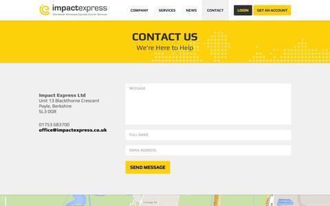 Screenshot of Contact Page impactexpress.co.uk - Contact Us | Impact Express - captured Oct. 6, 2014