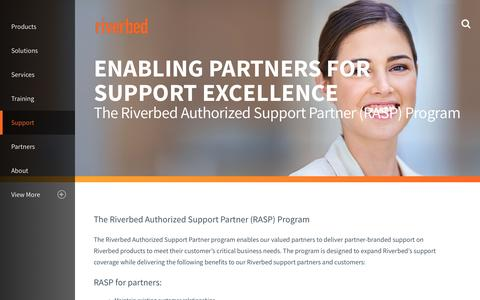 Screenshot of Support Page riverbed.com - Riverbed Support Partners (RASP) Page | Riverbed - captured May 25, 2017