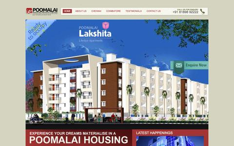 Screenshot of Home Page poomalaihousing.com - Poomalai Housing Private Limited - captured Oct. 2, 2014