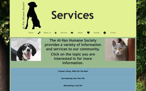 Screenshot of Services Page al-van.org - Services - captured Oct. 3, 2018