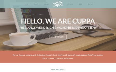 Screenshot of Home Page wearecuppa.com - We Are Cuppa | Freelance Web Designer Kent | Freelance Web Design and Wordpress Development - captured Sept. 19, 2014