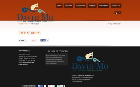 Screenshot of Case Studies Page david-mo.com - CASE STUDIES | David Mo Travel - captured Oct. 6, 2014