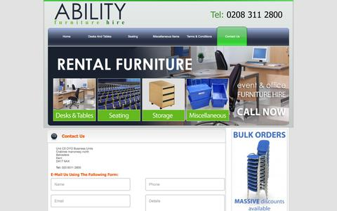Screenshot of Contact Page furniturehirelondon.biz - Specialist Furniture Hire in the UK : Ability Furniture Hire - captured Feb. 5, 2016