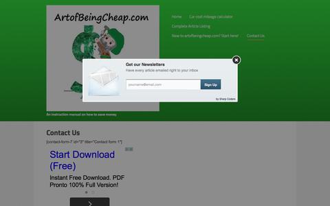 Screenshot of Contact Page artofbeingcheap.com - Contact Us - The Art of Being Cheap - captured Jan. 28, 2016