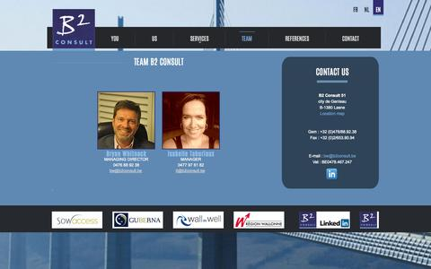 Screenshot of Team Page b2consult.be - Team consultants Lasne, Walloon Brabant. Consult B2, photos employees - captured Oct. 28, 2014