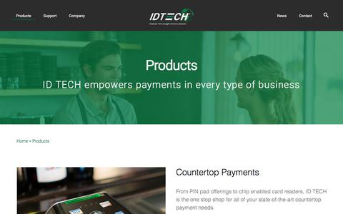 Screenshot of Products Page idtechproducts.com - Products – ID TECH - captured Sept. 23, 2018