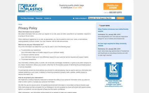 Screenshot of Privacy Page elkayplastics.com - Privacy Policy | Elkay Plastics - captured July 13, 2016