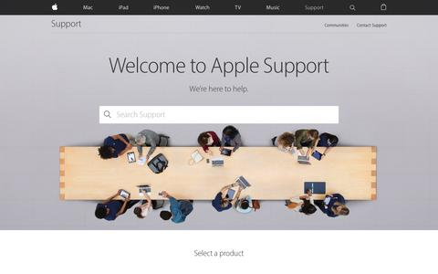 Screenshot of Support Page apple.com - Official Apple Support - captured May 6, 2016
