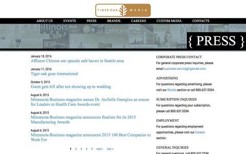 Screenshot of Press Page tigeroak.com - | tigeroak.com - captured Feb. 17, 2016