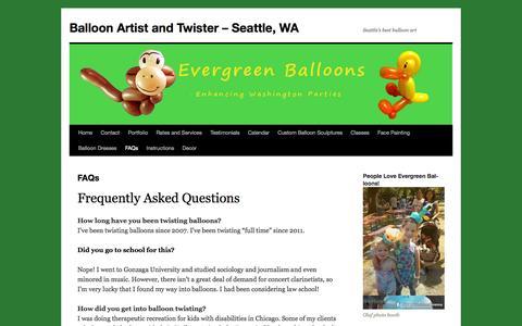 Screenshot of FAQ Page evergreenballoons.com - FAQs | Balloon Artist and Twister - Seattle, WABalloon Artist and Twister – Seattle, WA - captured Oct. 28, 2014
