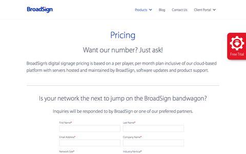 Screenshot of Pricing Page broadsign.com - Digital Signage Pricing - BroadSign - captured June 3, 2017
