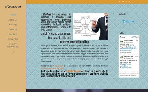 Screenshot of Home Page x10i.com - x10industries Social Media Marketing and Web Design - captured Oct. 9, 2014