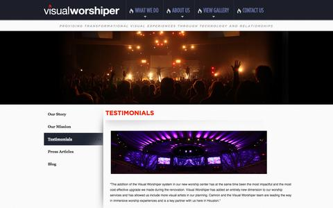 Screenshot of Testimonials Page visualworshiper.com - Visual Worshiper | Testimonials - captured Feb. 25, 2016