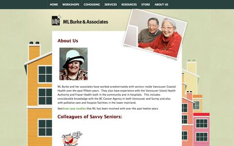 Screenshot of About Page savvyseniorshousing.com - Seniors Housing Solutions: Helping Seniors Find Affordable Housing Solutions - captured Oct. 3, 2014