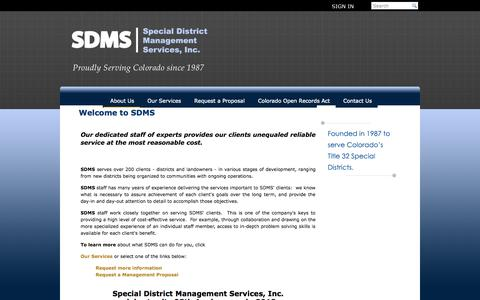 Screenshot of About Page sdmsi.com - Special District Management Services - Homeowners associations management - captured Sept. 30, 2014