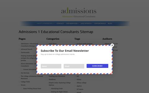 Screenshot of Site Map Page admissions1.com - Admissions 1 Educational Consultants Sitemap - captured Feb. 5, 2016