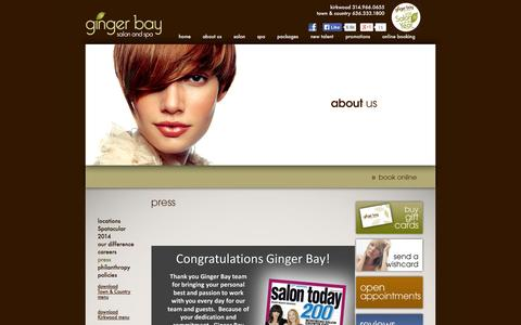 Screenshot of Press Page gingerbay.com - Press - In the Media - Ginger Bay Aveda Salon & Day Spa - St. Louis / Kirkwood, Missouri - captured Oct. 2, 2014