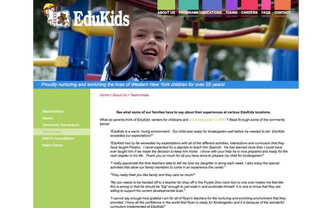 Screenshot of Testimonials Page edukidsinc.com - Child Care & Pre-Kindergarten in WNY | Edukids - captured Oct. 2, 2014
