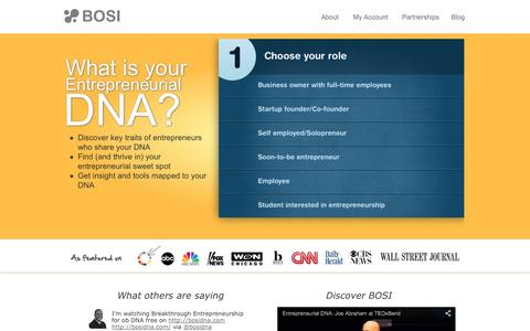 Screenshot of Home Page bosidna.com - bosiDNA - Powering Entrepreneurship Around The Globe - captured Jan. 24, 2015