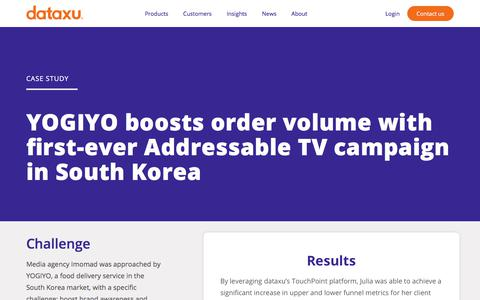 Screenshot of Case Studies Page dataxu.com - Imomad and Yogiyo Case Study | dataxu inc. - captured Nov. 18, 2019