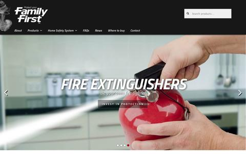 Screenshot of Home Page family-first.com.au - Family First for fire safety ~ alarms, detectors, extinguishers... - captured March 6, 2016