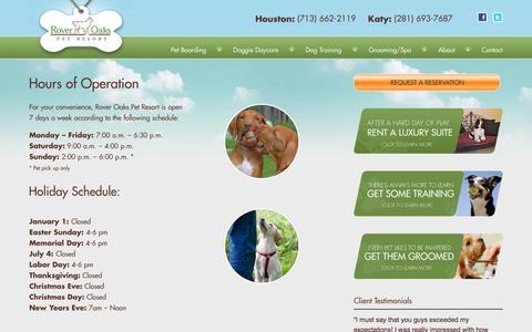 Screenshot of Hours Page roveroaks.com - Hours of Operation - Rover Oaks Pet Resort - captured Oct. 6, 2014