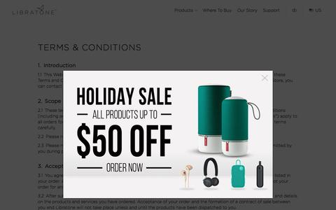 Screenshot of Terms Page libratone.com - Libratone Speakers – Wireless, Wifi and Bluetooth speakers with 360° Fullroom Sound - captured Dec. 28, 2016