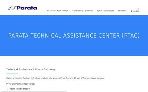 Screenshot of Support Page parata.com - Parata Technical Assistance Center (PTAC) | Parata - captured Nov. 18, 2019
