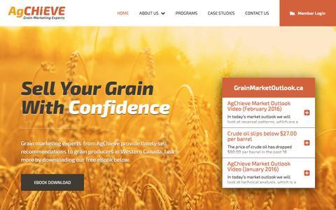Screenshot of Home Page ag-chieve.ca - Grain Marketing Experts – AgChieve Grain Marketing – Winnipeg, Manitoba, Canada | Home - captured Feb. 5, 2016