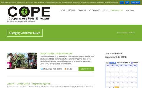 Screenshot of Press Page cope.it - News | Cope, Cooperazione Paesi Emergenti - captured Nov. 30, 2016