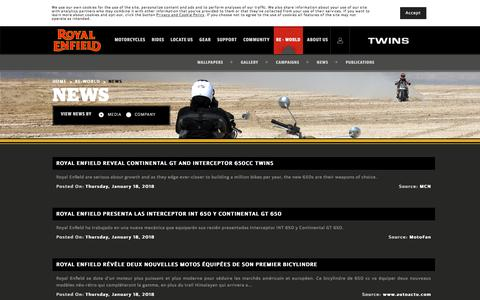 Screenshot of Press Page royalenfield.com - News | Royal Enfield Motorcycles - captured Sept. 20, 2018