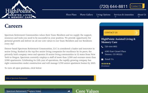 Screenshot of Jobs Page spectrumretirement.com - Careers At HighPointe Assisted Living & Memory Care - captured Jan. 23, 2017