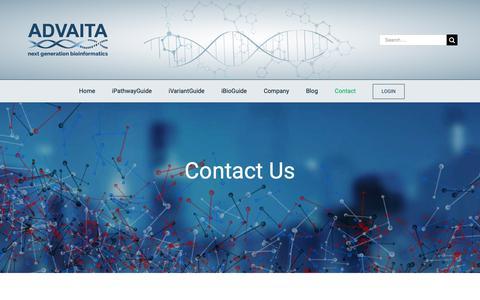 Screenshot of Contact Page advaitabio.com - Contact Us - Advaita Bioinformatics - captured Nov. 12, 2018