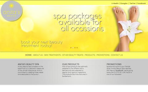 Screenshot of Home Page anitasbeautyspa.ca - Anita's Beauty Spa - Kitchener-Waterloo Spa - captured Sept. 30, 2014