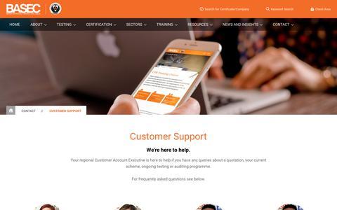 Screenshot of Support Page basec.org.uk - Customer Support | BASEC - captured Nov. 5, 2018