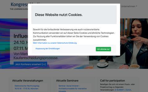 Screenshot of Home Page kongressmedia.de - Kongress Media GmbH: Anbieter von Veranstaltungen & Informationen mit Erkenntnisgewinn für die Entwicklung von Projekten der digitalen Transformation - captured Oct. 15, 2018
