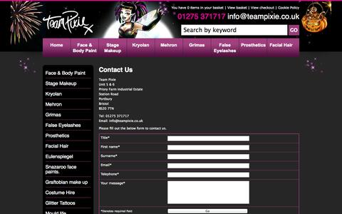 Screenshot of Contact Page teampixie.co.uk - Contact Us - captured Oct. 2, 2014