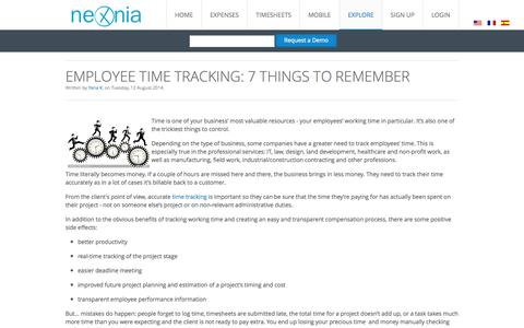 Screenshot of Blog nexonia.com - Expense Reports and Timesheets Blog - Nexonia - captured Sept. 24, 2014
