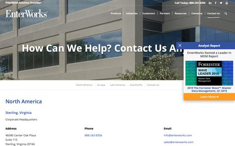 Screenshot of Contact Page enterworks.com - Contact Us | EnterWorks - captured May 21, 2019